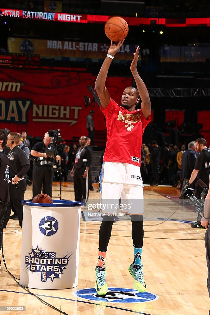 Kevin Durant of West Team warming up during the Sears Shooting Stars Competition on State Farm All-Star Saturday Night as part of the 2014 All-Star Weekend at Smoothie King Center on February 15, 2014 in New Orleans, Louisiana.