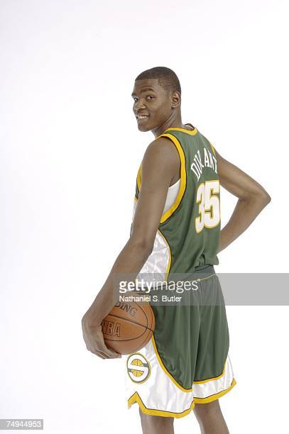 Kevin Durant poses for a portrait during media availability for the 2007 NBA Draft June 27 2007 at The Westin Hotel in Times Square in New York New...