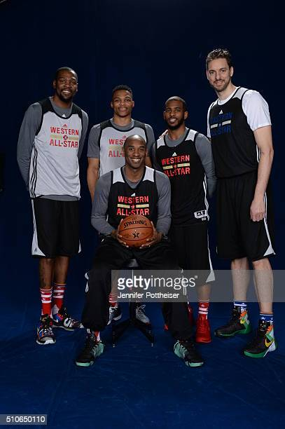 Kevin Durant Russell Westbrook Chris Paul Pau Gasol and Kobe Bryant of the Western Conference AllStars pose for a portrait during NBA AllStar Weekend...