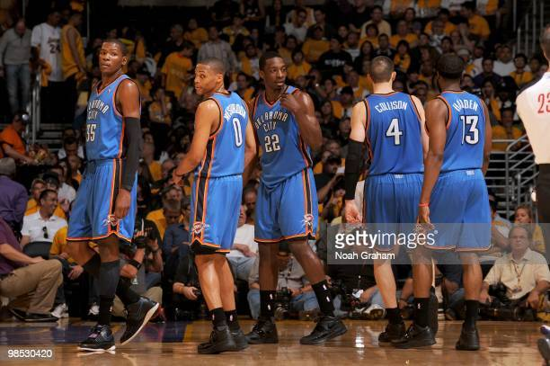 Kevin Durant Russell Westbrook Jeff Green Nick Collison and James Harden of the Oklahoma City Thunder walk on the court during a game against the Los...