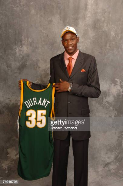Kevin Durant selected second overall by the Seattle SuperSonics poses for a portrait backstage during the 2007 NBA Draft at The WaMu Theatre at...
