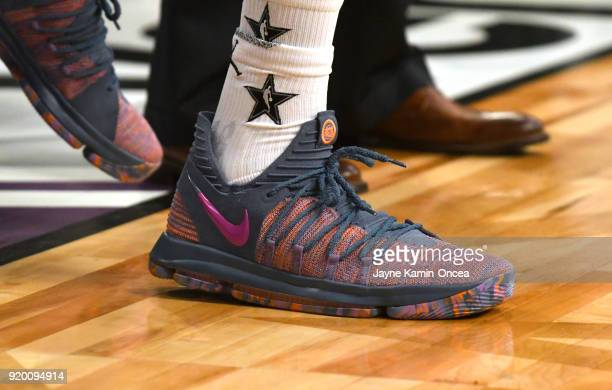 Kevin Durant shoe detail warms up during the NBA AllStar Game 2018 at Staples Center on February 18 2018 in Los Angeles California