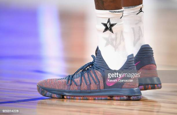 Kevin Durant shoes on display during the NBA AllStar Game 2018 at Staples Center on February 18 2018 in Los Angeles California