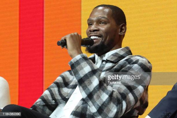 Kevin Durant speaks during the 2019 Forbes 30 Under 30 Summit at Detroit Masonic Temple on October 29, 2019 in Detroit, Michigan.