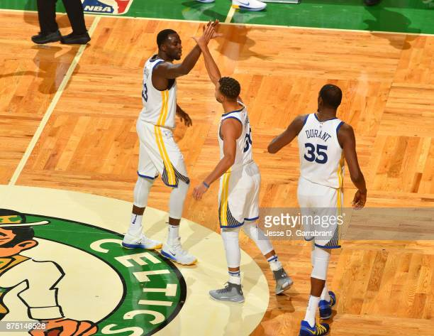 Kevin Durant Stephen Curry and Draymond Greeno of the Golden State Warriors during the game against the Boston Celtics on November 16 2017 at the TD...