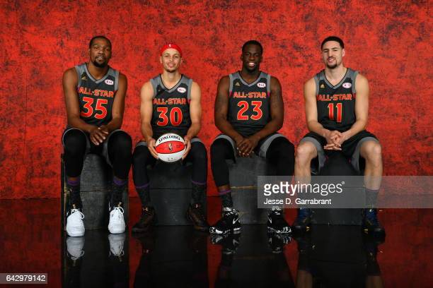 Kevin Durant Stephen Curry Draymond Green and Klay Thompson of the Western Conference AllStars poses for a portrait during the NBA AllStar Game as...