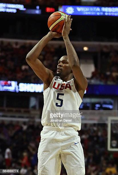 Kevin Durent of the United States shoots against Venezuela during preOlympic exhibition game at United Center on July 29 2016 in Chicago Illinois