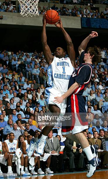 Kevin Egee of the Pennsylvania Quakers guards Marcus Ginyard of the University of North Carolina Tar Heels on January 3 2007 at the Dean Smith Center...