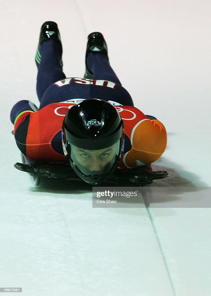 Kevin Ellis of the United States competes in the Mens Skeleton Single Final on Day 7 of the 2006 Turin Winter Olympic Games on February 17, 2006 in Cesana Pariol, Italy.