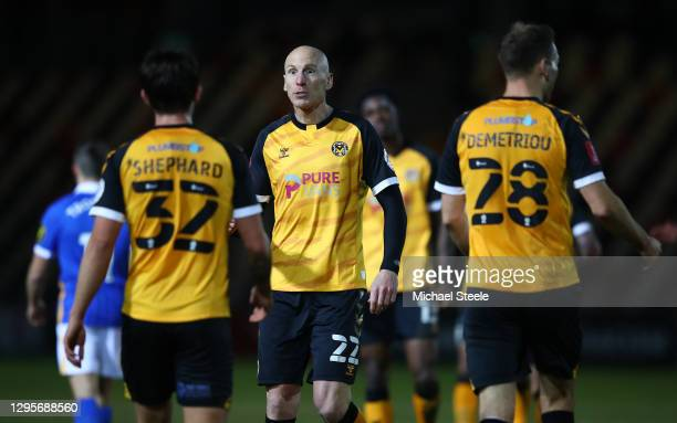 Kevin Ellison of Newport County celebrates their team's first goal with teammate Liam Shephard of Newport County during the FA Cup Third Round match...
