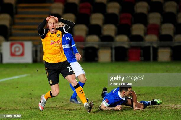 Kevin Ellison of Newport County reacts after a shot during the FA Cup Third Round match between Newport County and Brighton And Hove Albion at Rodney...