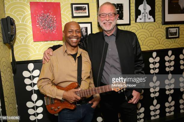 Kevin Eubanks and jazz bassist Dave Holland attend Kevin Eubanks' 'East West Time Line' album release party at Birdland Jazz Club on April 11 2017 in...