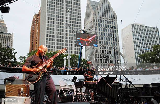 Kevin Eubanks musical director of the Tonight Show featuring Jay Leno orchestra performs during the 33rd Annual Detroit Jazz Festival on September 1...