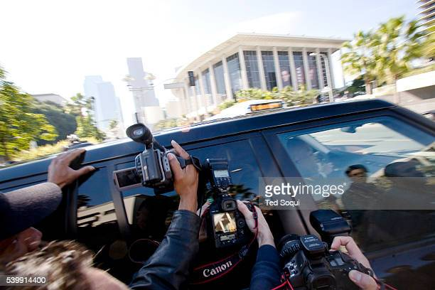 Kevin Federline's Range Rover tries to get past a media horde at the LA Superior Court in downtown Los Angeles. Singer Britney Spears and Kevin...