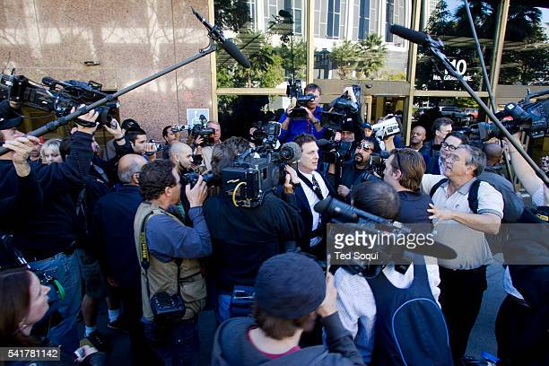 Kevin Federline's spokesperson Michael Sands speaks to the media at a custody hearing. Kevin Federline and Britney Spears were to appear in court for...