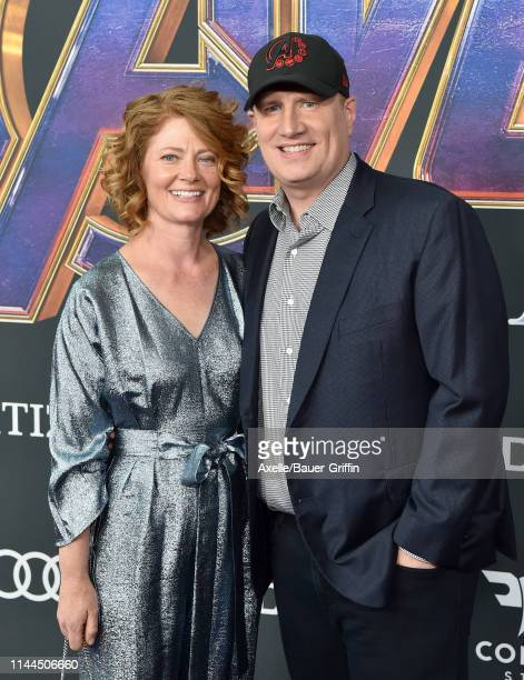 Kevin Feige and Caitlin Feige attend the World Premiere of Walt Disney Studios Motion Pictures 'Avengers Endgame' at Los Angeles Convention Center on...
