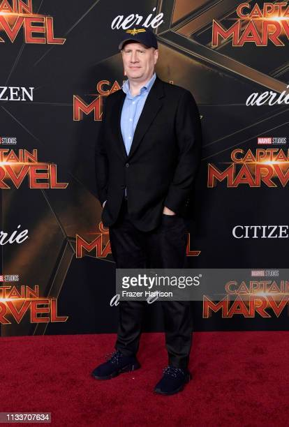 Kevin Feige attends the Marvel Studios Captain Marvel premiere on March 04 2019 in Hollywood California