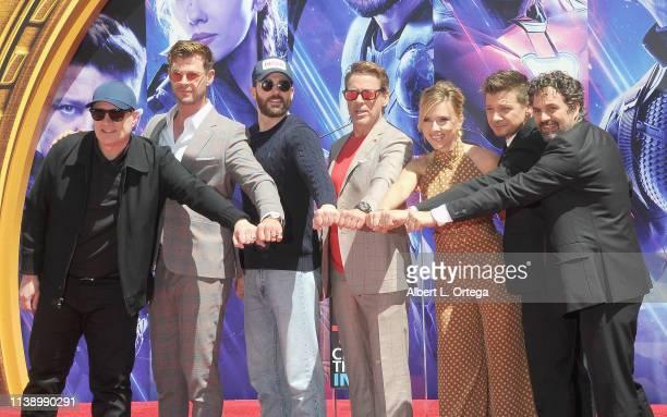 Kevin Feige Chris Hemsworth Chris Evans Scarlett Johansson Mark Ruffalo and Jeremy Renner attend Marvel Studios' Avengers Endgame Cast Place Their...
