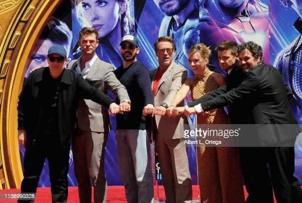 """Kevin Feige, Chris Hemsworth, Chris Evans, Scarlett Johansson, Mark Ruffalo and Jeremy Renner attend Marvel Studios' """"Avengers: Endgame"""" Cast Place..."""
