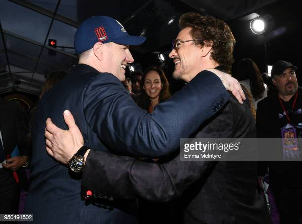 Kevin Feige President of Marvel Studios and Robert Downey Jr attends the premiere of Disney and Marvel's 'Avengers Infinity War' on April 23 2018 in...