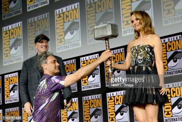 Kevin Feige, Taika Waititi and Natalie Portman speak at the Marvel Studios Panel during 2019 Comic-Con International at San Diego Convention Center...