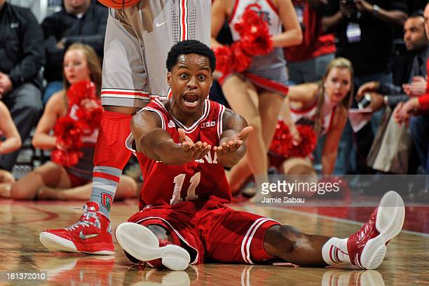 Kevin Ferrell of the Indiana Hoosiers disputes a blocking foul called on him against the Ohio State Buckeyes in the first half on February 10 2013 at...