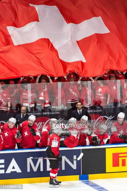 Kevin Fiala celebrates his goal with teammates during the 2019 IIHF Ice Hockey World Championship Slovakia group B game between Switzerland and Italy...