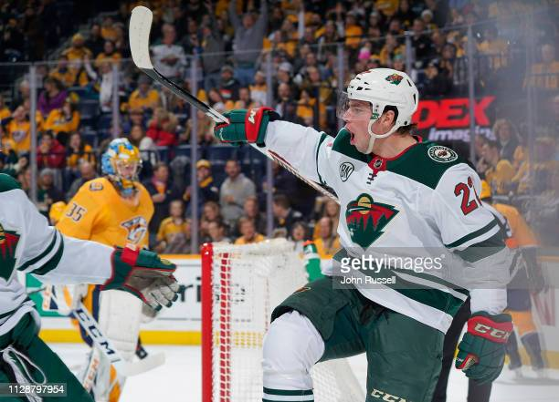 Kevin Fiala of the Minnesota Wild celebrates his goal against the Nashville Predators at Bridgestone Arena on March 5 2019 in Nashville Tennessee