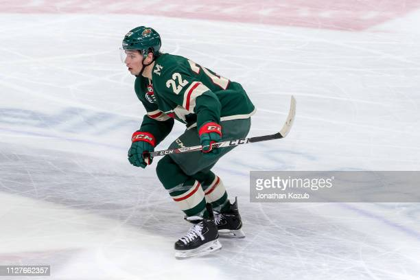 Kevin Fiala of the Minnesota Wild follows the play down the ice during second period action against the Winnipeg Jets at the Bell MTS Place on...