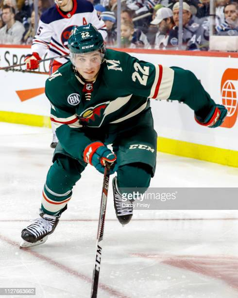 Kevin Fiala of the Minnesota Wild follows the play down the ice during third period action against the Winnipeg Jets at the Bell MTS Place on...