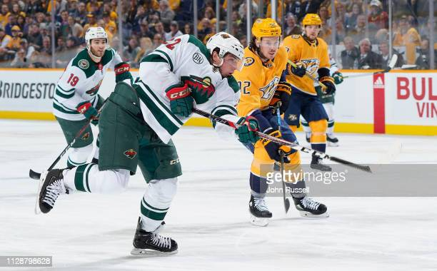 Kevin Fiala of the Minnesota Wild shoots the puck against the Nashville Predators at Bridgestone Arena on March 5 2019 in Nashville Tennessee