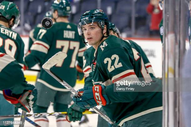 Kevin Fiala of the Minnesota Wild takes part in the pregame warm up prior to NHL action against the Winnipeg Jets at the Bell MTS Place on February...