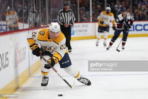 Kevin Fiala of the Nashville Predators advances the puck against the Colorado Avalanche in the third period at the Pepsi Center on November 7 2018 in...