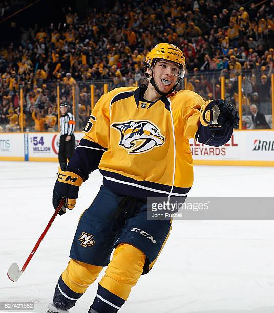 Kevin Fiala of the Nashville Predators celebrates his goal against the New Jersey Devils during an NHL game at Bridgestone Arena on December 3 2016...