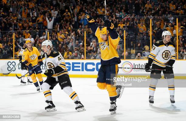 Kevin Fiala of the Nashville Predators celebrates his goal against the Boston Bruins during an NHL game at Bridgestone Arena on December 4 2017 in...