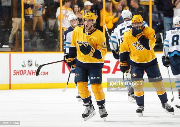 Kevin Fiala of the Nashville Predators celebrates his goal against the Winnipeg Jets during an NHL game at Bridgestone Arena on December 19 2017 in...