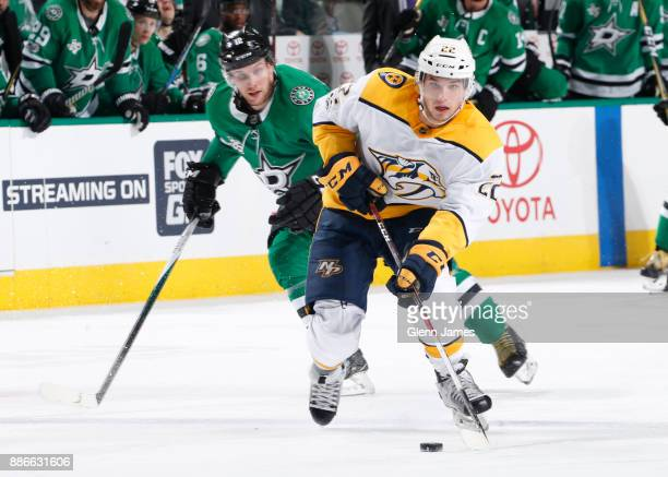 Kevin Fiala of the Nashville Predators handles the puck against the Dallas Stars at the American Airlines Center on December 5 2017 in Dallas Texas