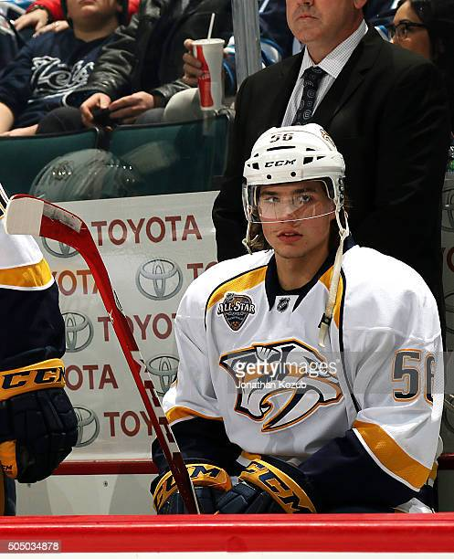 Kevin Fiala of the Nashville Predators looks on from the bench prior to puck drop against the Winnipeg Jets at the MTS Centre on January 14 2016 in...