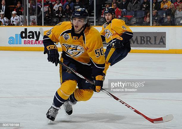 Kevin Fiala of the Nashville Predators plays against the Chicago Blackhawks at Bridgestone Arena on January 19 2016 in Nashville Tennessee