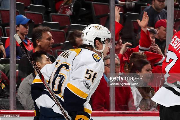 Kevin Fiala of the Nashville Predators reacts after scoring against the Chicago Blackhawks in the third period in Game Two of the Western Conference...