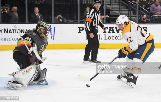 Kevin Fiala of the Nashville Predators scores a thirdperiod goal against Malcolm Subban of the Vegas Golden Knights during their game at TMobile...
