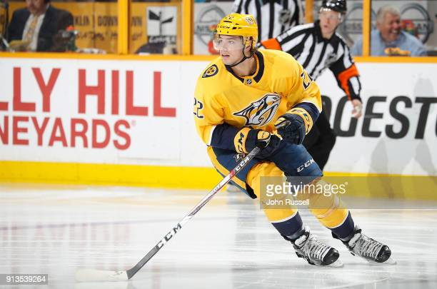 Kevin Fiala of the Nashville Predators skates against the Chicago Blackhawks during an NHL game at Bridgestone Arena on January 30 2018 in Nashville...