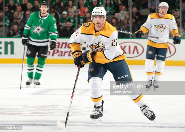 Kevin Fiala of the Nashville Predators skates against the Dallas Stars at the American Airlines Center on November 10 2018 in Dallas Texas
