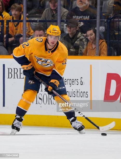 Kevin Fiala of the Nashville Predators skates against the Detroit Red Wings at Bridgestone Arena on February 12 2019 in Nashville Tennessee