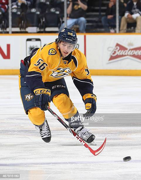 Kevin Fiala of the Nashville Predators skates against the Montreal Canadiens during an NHL game at Bridgestone Arena on March 24 2015 in Nashville...
