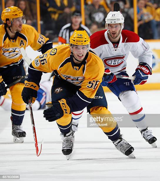 Kevin Fiala of the Nashville Predators skates against the Montreal Canadiens during an NHL game at Bridgestone Arena on January 3 2017 in Nashville...