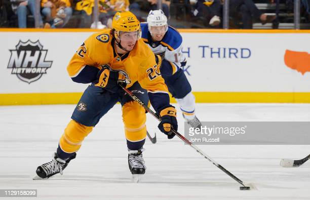 Kevin Fiala of the Nashville Predators skates against the St Louis Blues at Bridgestone Arena on February 10 2019 in Nashville Tennessee