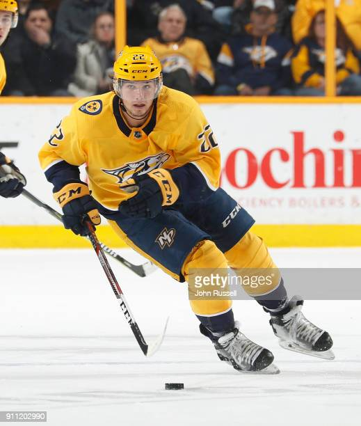 Kevin Fiala of the Nashville Predators skates against the Tampa Bay Lightning during an NHL game at Bridgestone Arena on January 23 2018 in Nashville...