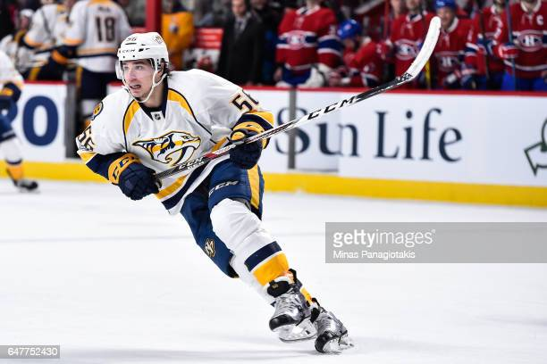 Kevin Fiala of the Nashville Predators skates during the NHL game against the Montreal Canadiens at the Bell Centre on March 2 2017 in Montreal...