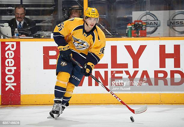 Kevin Fiala of the Nashville Predators skates in warmups prior to the game against the St Louis Blues during an NHL game at Bridgestone Arena on...
